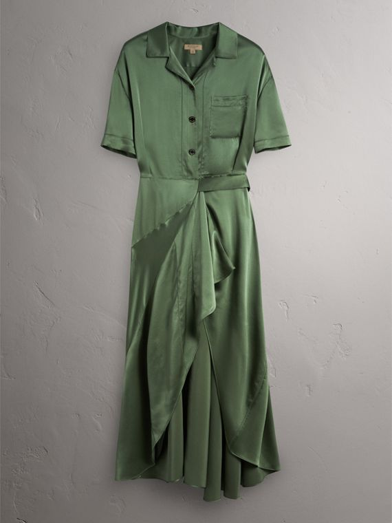 Washed Silk Satin Tie-waist Shirt Dress in Forest Green - Women | Burberry - cell image 3