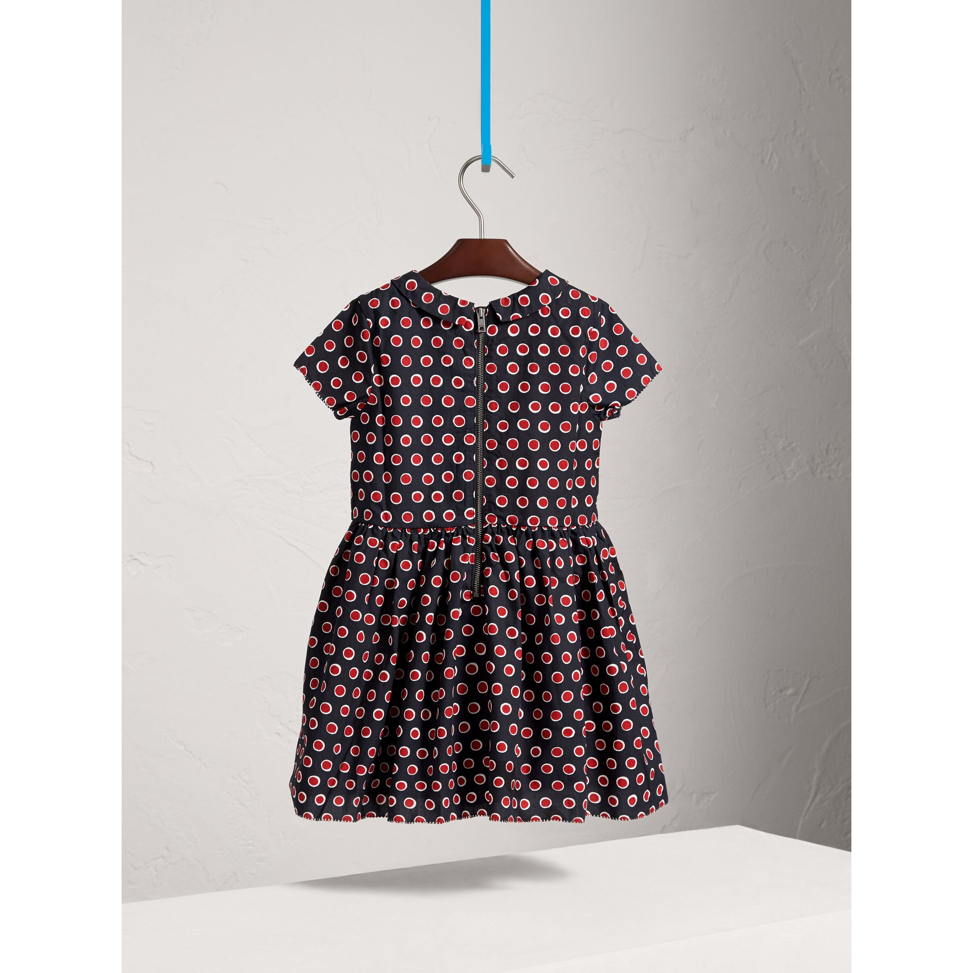 Pintuck Detail Spot Print Cotton Dress in Parade Red - Girl | Burberry United Kingdom - gallery image 3