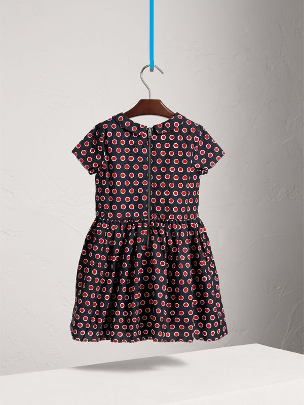 Pintuck Detail Spot Print Cotton Dress in Parade Red | Burberry - cell image 3