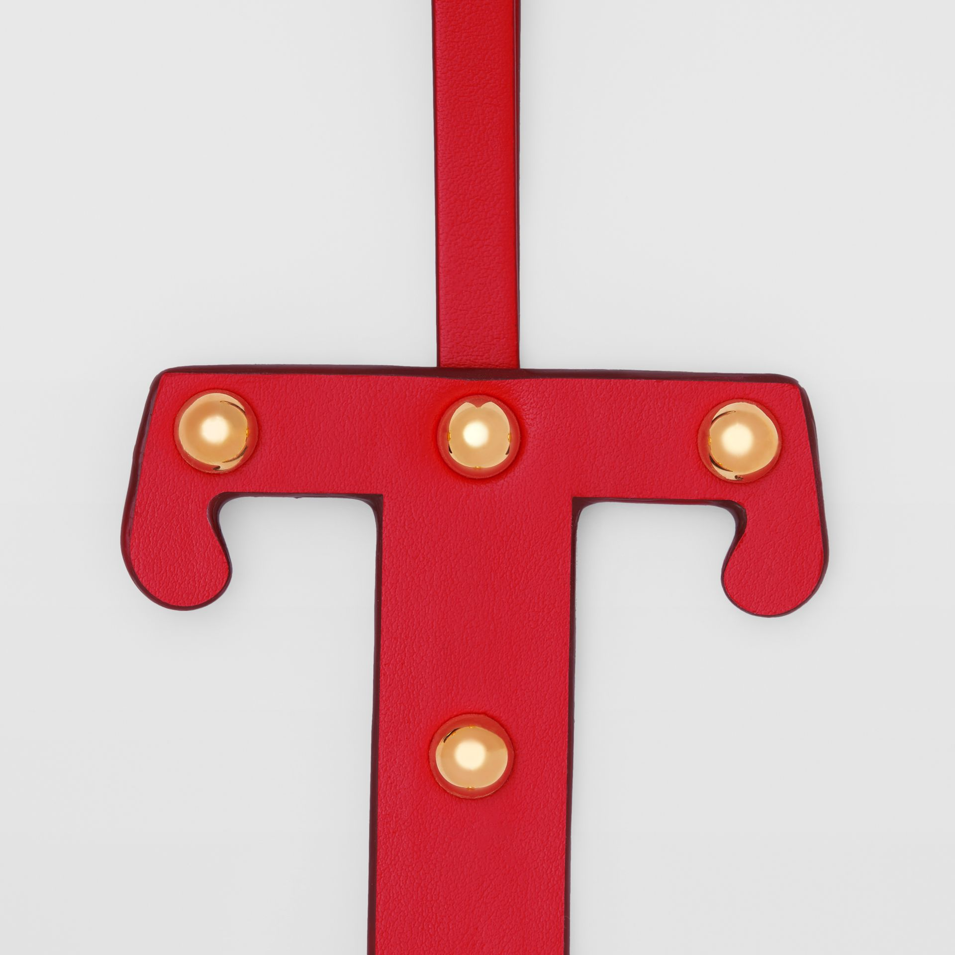 'T' Studded Leather Alphabet Charm in Red/light Gold - Women   Burberry - gallery image 1