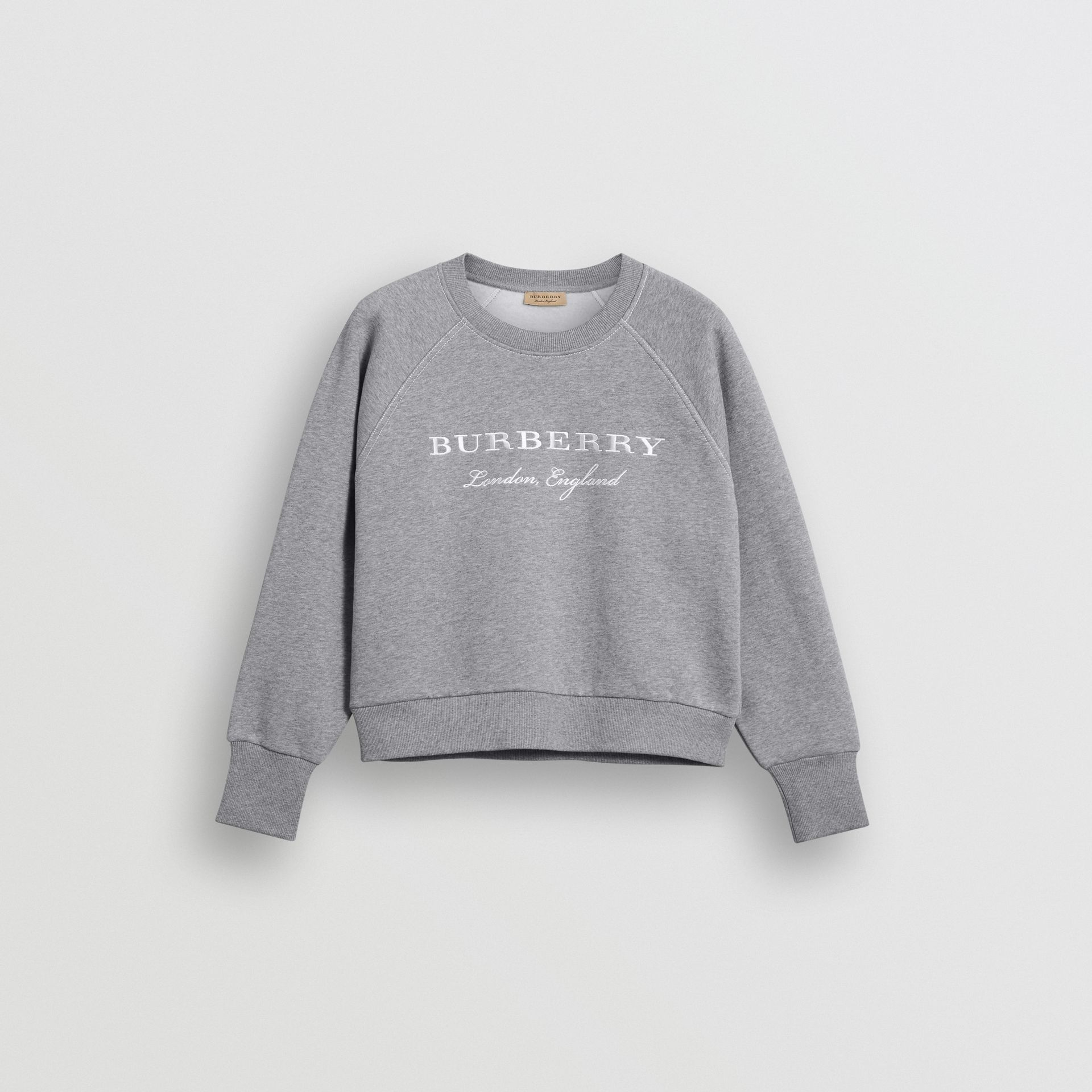 Embroidered Cotton Blend Jersey Sweatshirt in Pale Grey Melange - Women | Burberry United Kingdom - gallery image 4