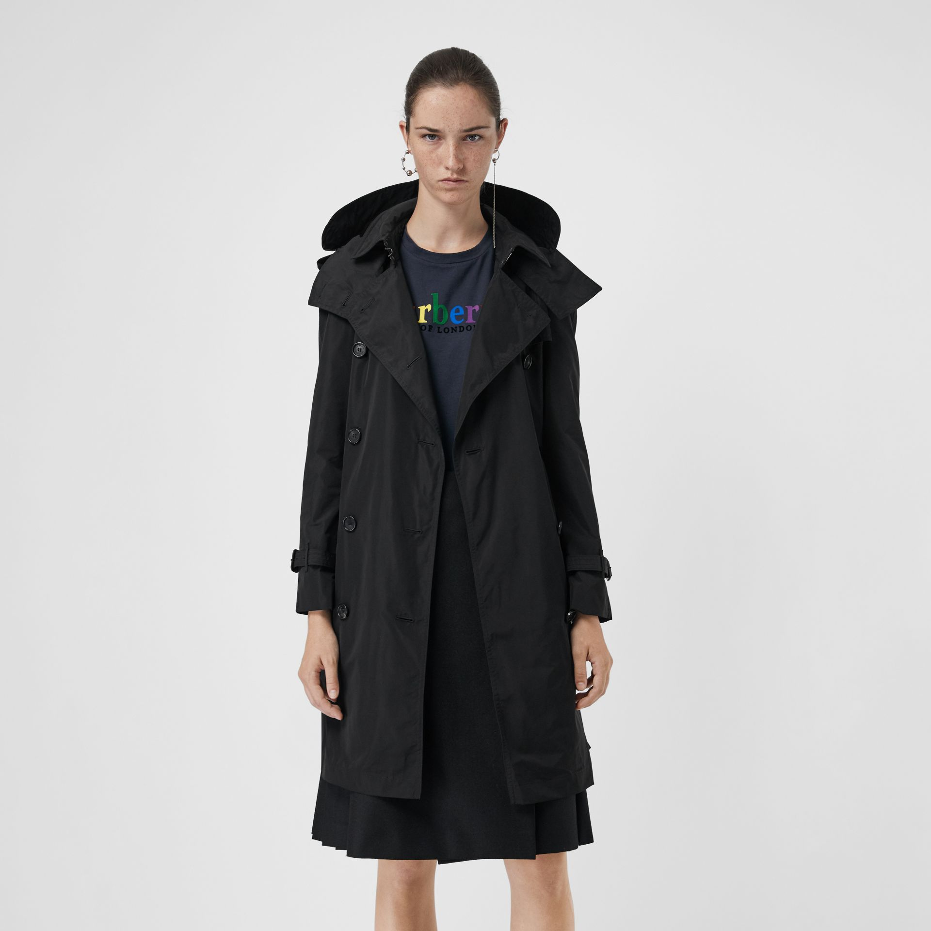 Detachable Hood Taffeta Trench Coat in Black - Women | Burberry Singapore - gallery image 5