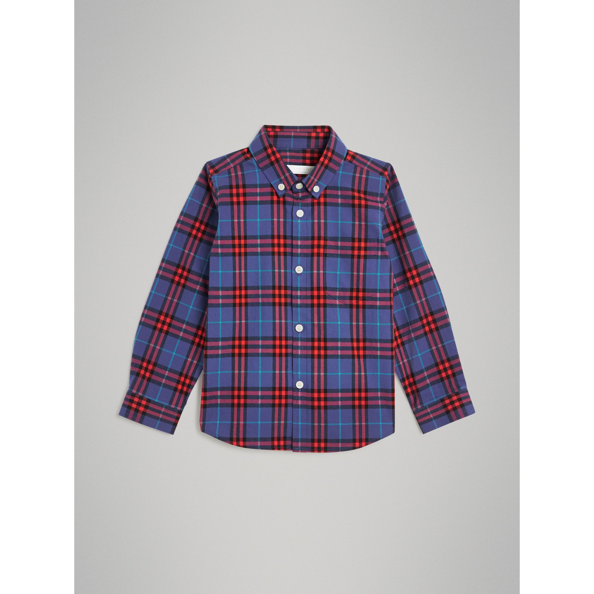 Button-down Collar Check Flannel Shirt in Sapphire Blue | Burberry - gallery image 0