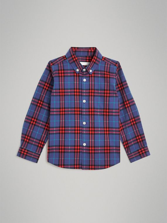Button-down Collar Check Flannel Shirt in Sapphire Blue