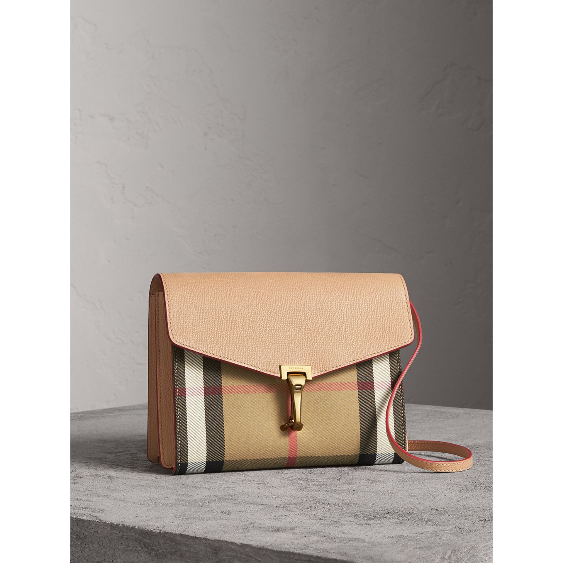 Small Leather and House Check Crossbody Bag in Pale Apricot - Women | Burberry Australia - gallery image 8
