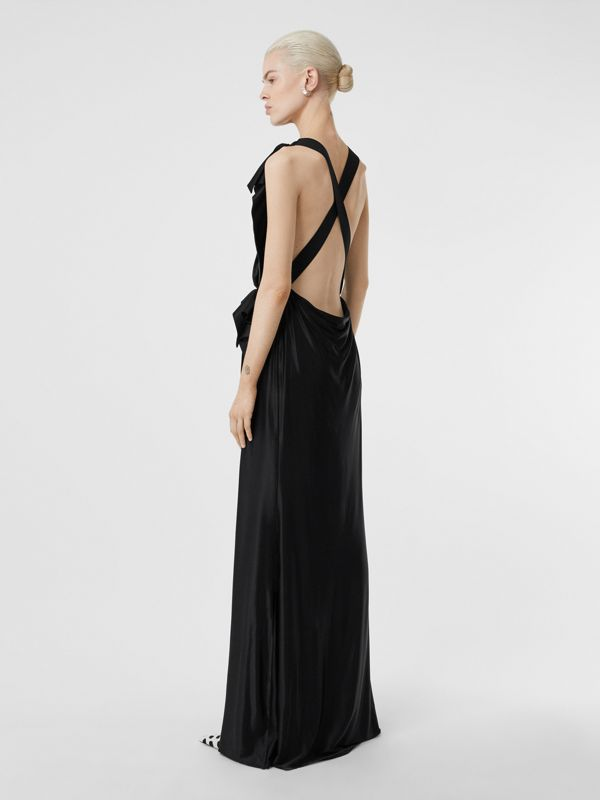 Tie Detail Stretch Jersey Gown in Black - Women | Burberry - cell image 2
