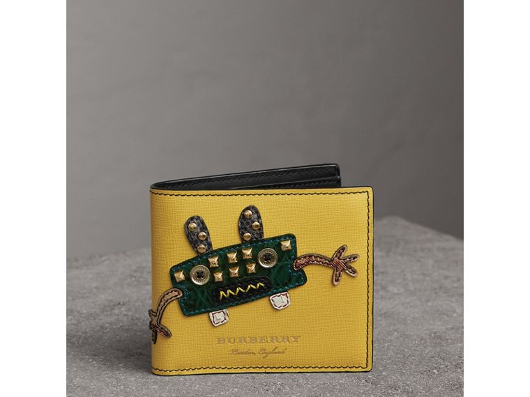 Creature Appliqué Leather International Bifold Wallet in Ochre Yellow - Men | Burberry United Kingdom - cell image 4