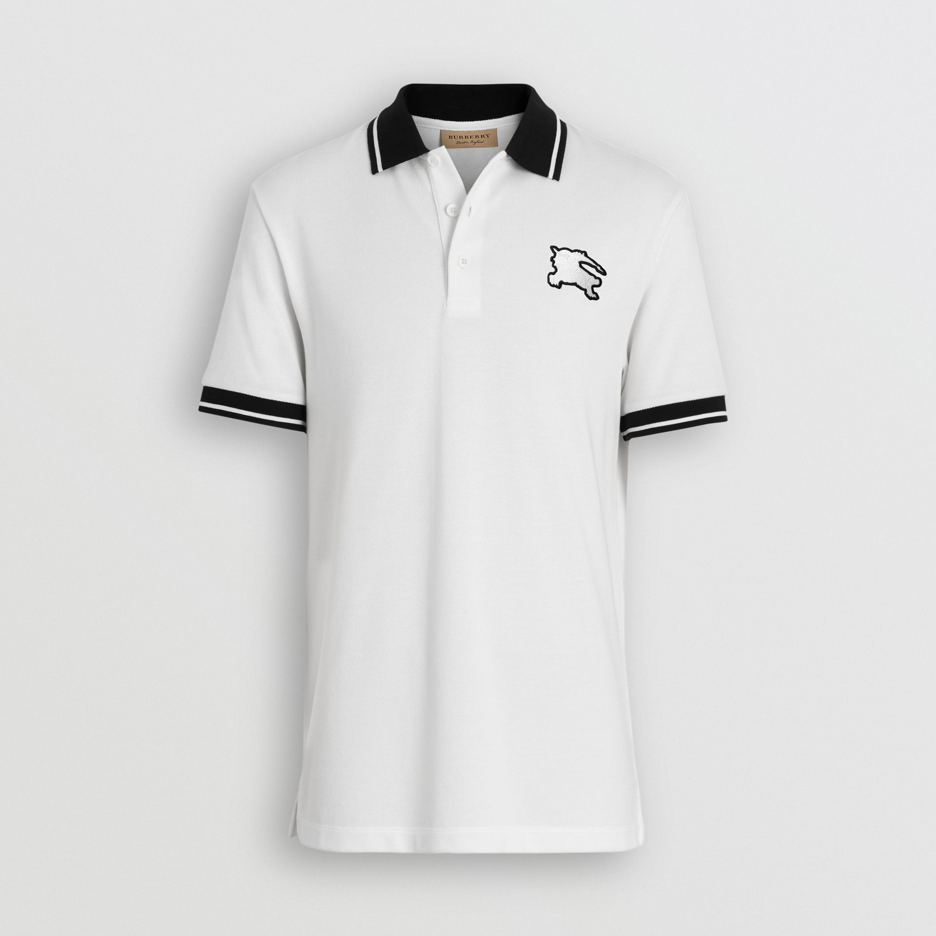 Tipped Cotton Piqué Polo Shirt in White - Men | Burberry Canada - gallery image 3
