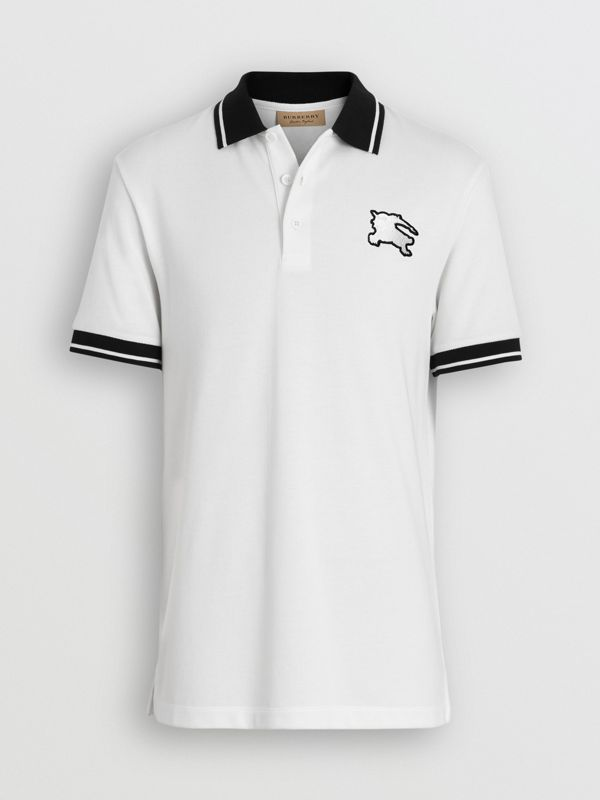 Tipped Cotton Piqué Polo Shirt in White - Men | Burberry Canada - cell image 3