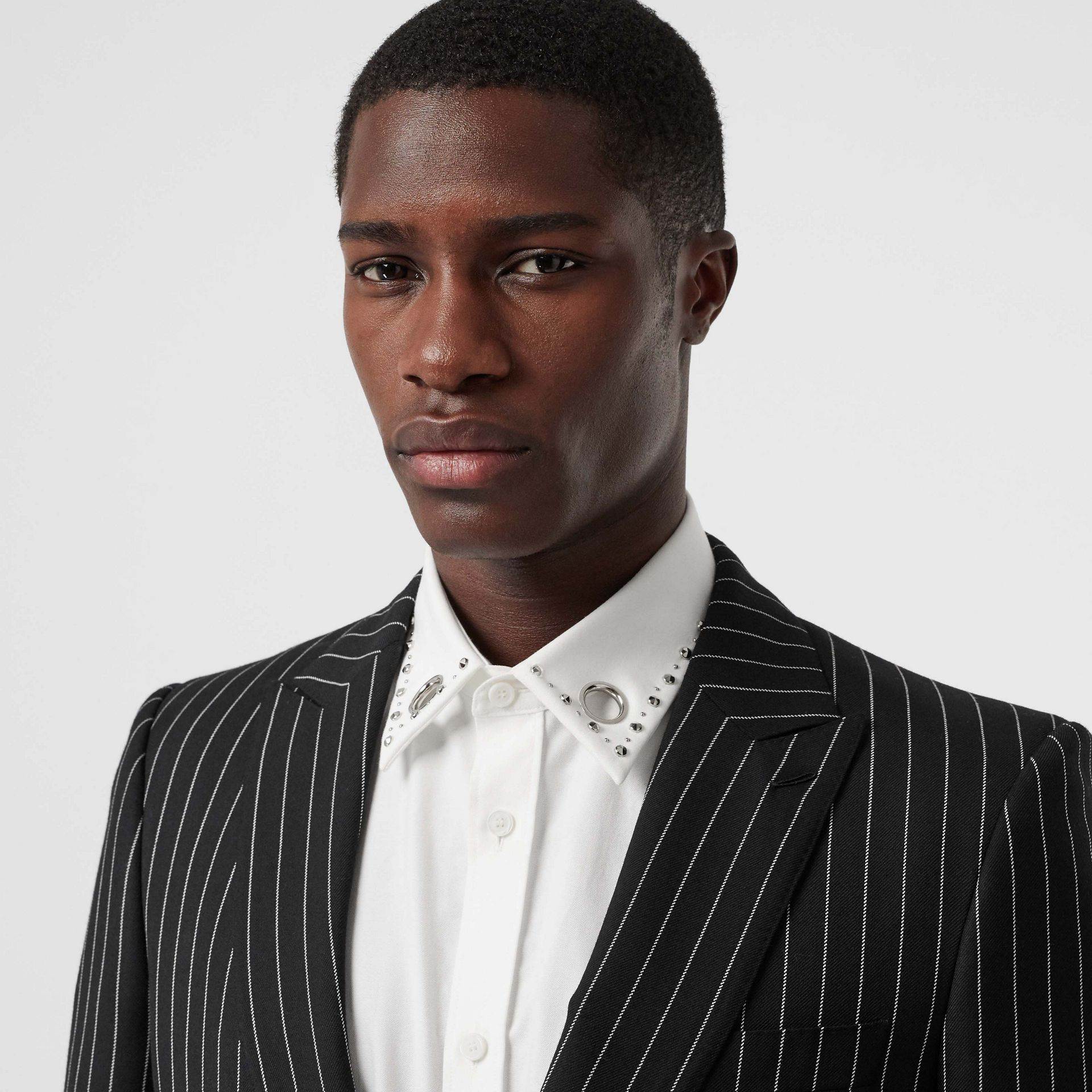 English Fit Pinstriped Wool Suit in Black - Men | Burberry Singapore - gallery image 1