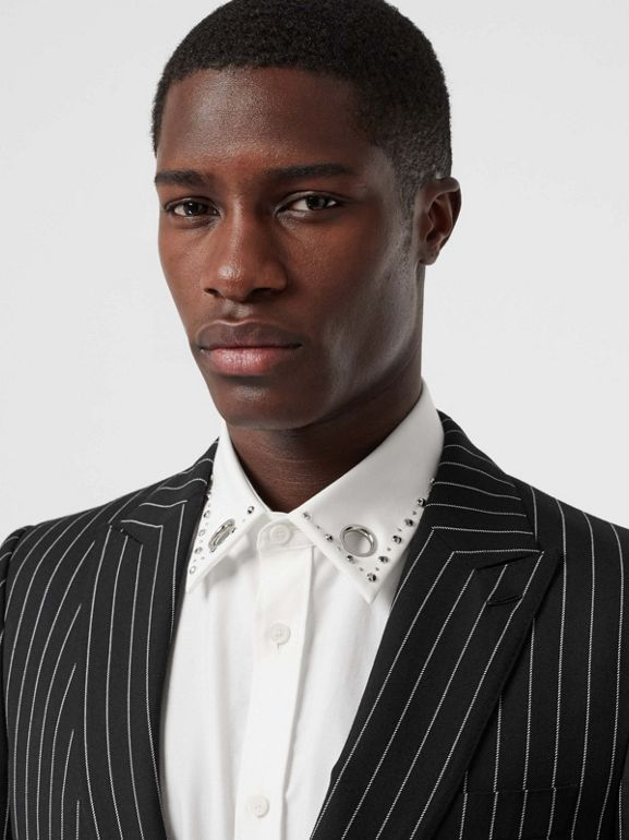 English Fit Pinstriped Wool Suit in Black - Men | Burberry Australia - cell image 1