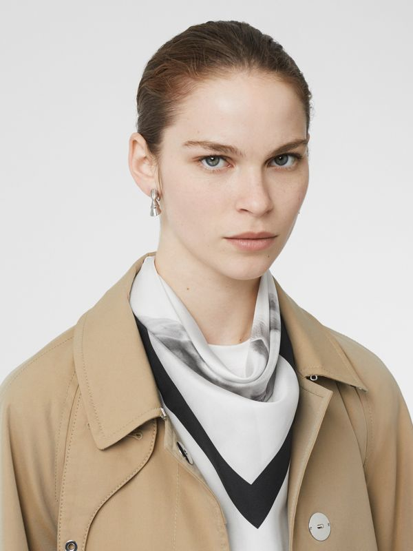 Unicorn Print Silk Square Scarf in White | Burberry Australia - cell image 2