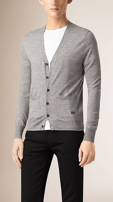 Mid grey melange V-Neck Merino Wool Cardigan - Image 1