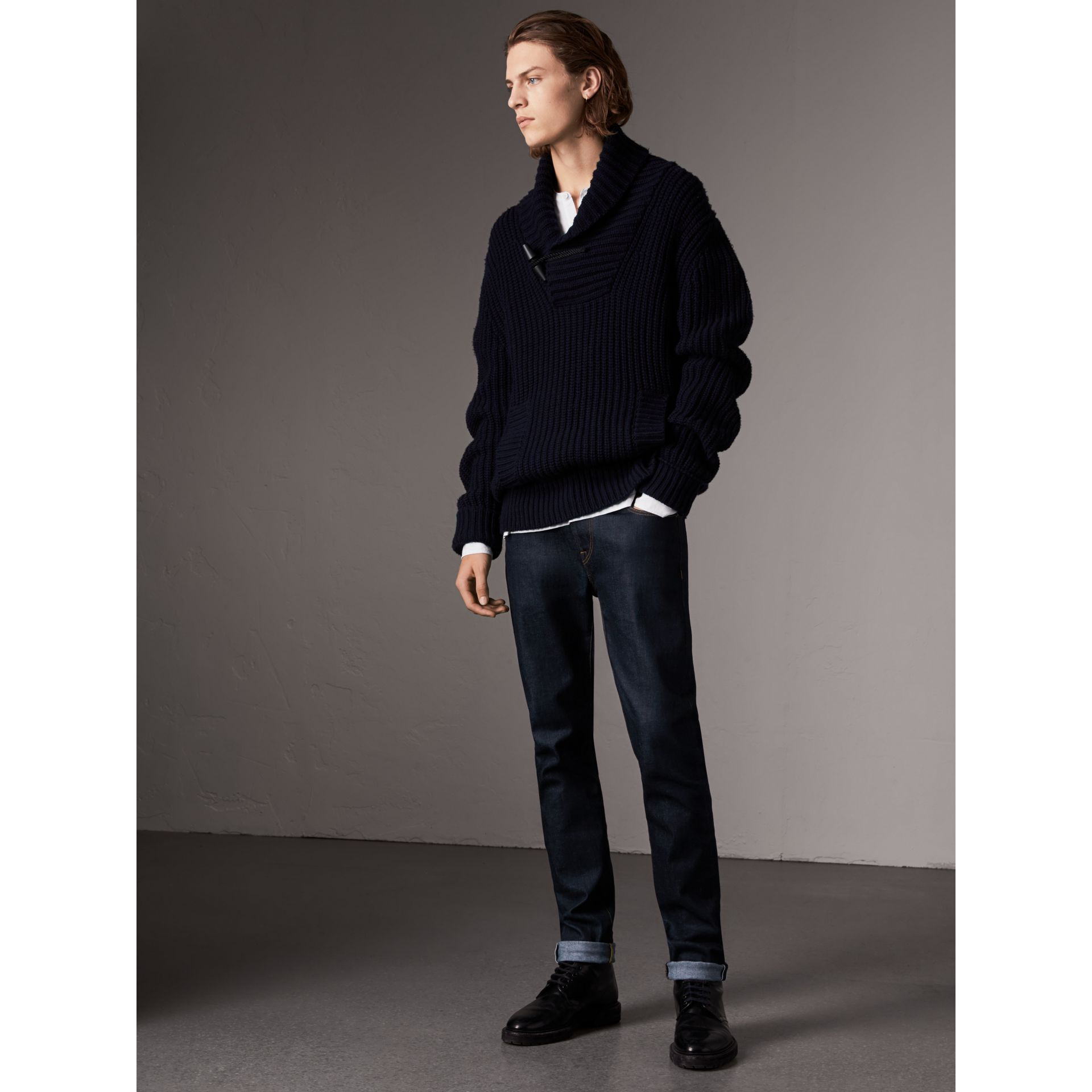 Shawl Collar Wool Cashmere Sweater in Navy - Men | Burberry Singapore - gallery image 1