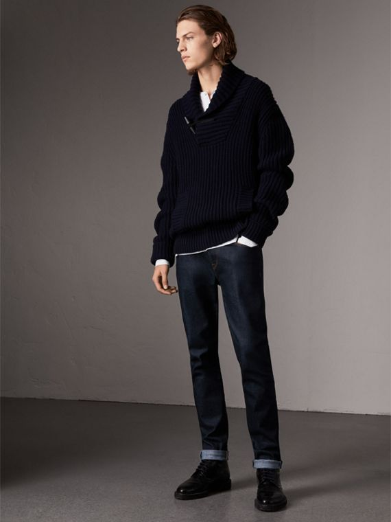 Shawl Collar Wool Cashmere Sweater in Navy