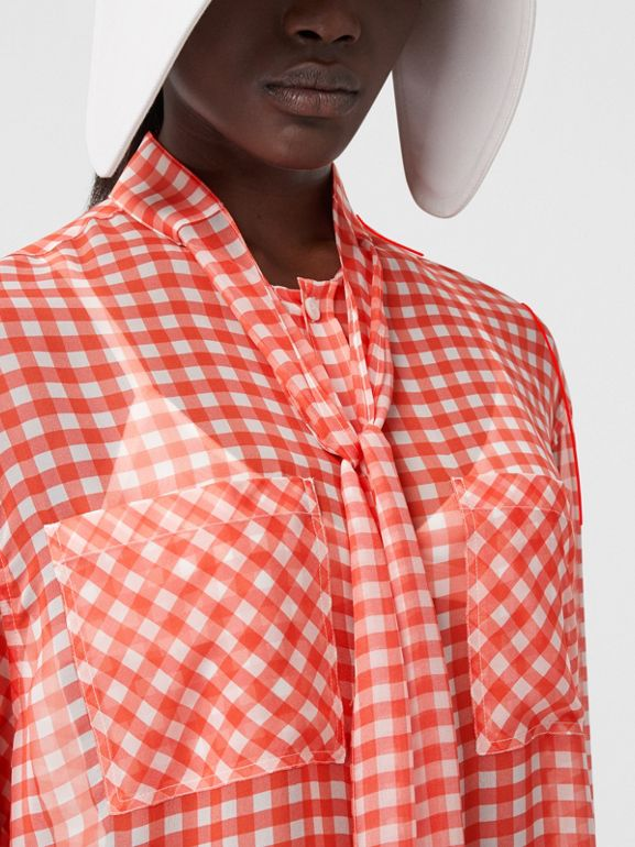 Gingham Silk Chiffon Pussy-bow Blouse in Red - Women | Burberry United Kingdom - cell image 1