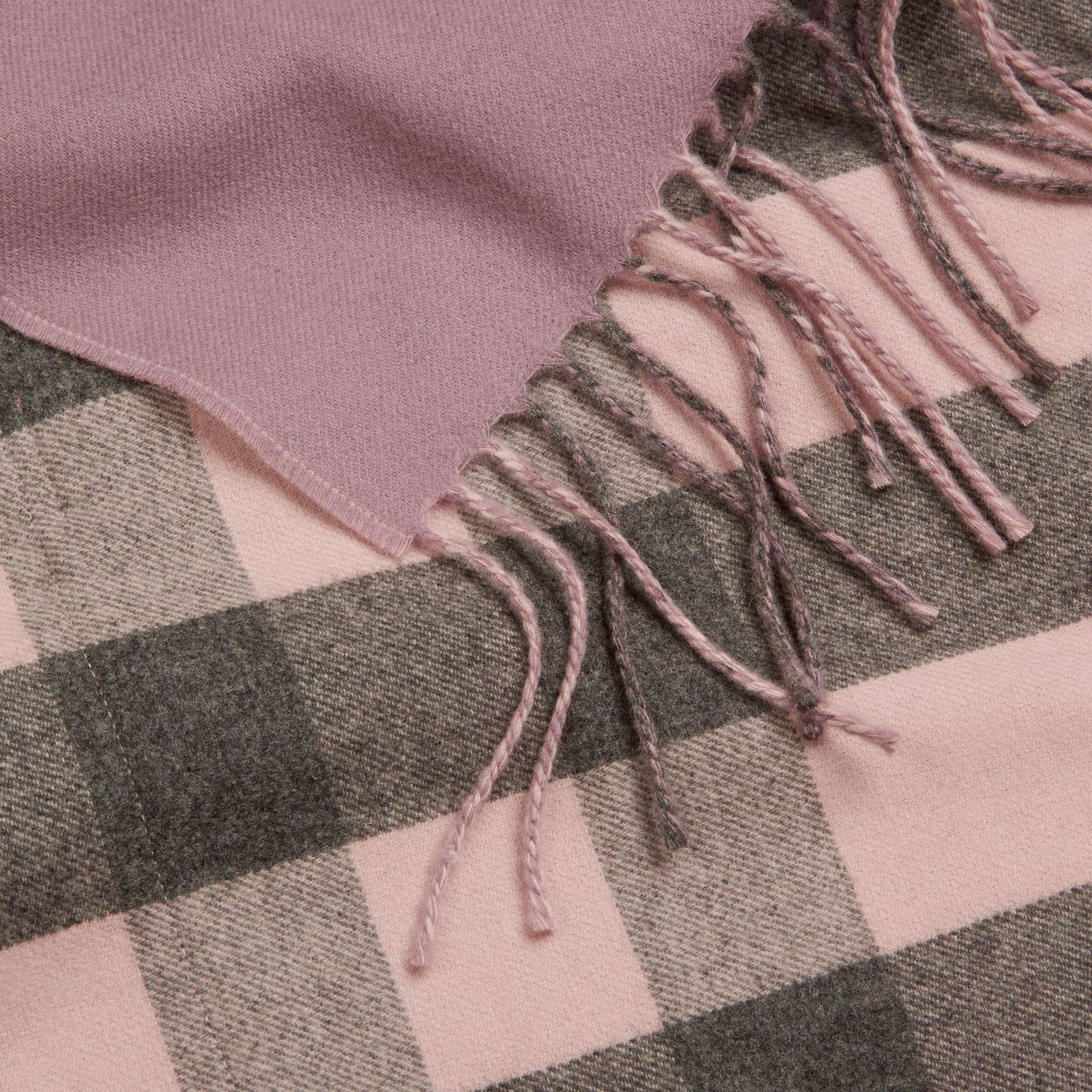 Thistle pink Check Lined Wool Cashmere Stole Thistle Pink - gallery image 2