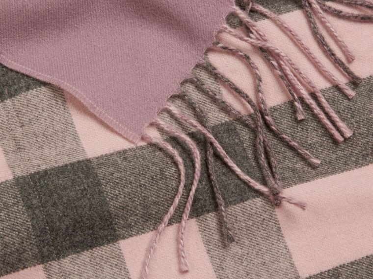 Thistle pink Check Lined Wool Cashmere Stole Thistle Pink - cell image 1