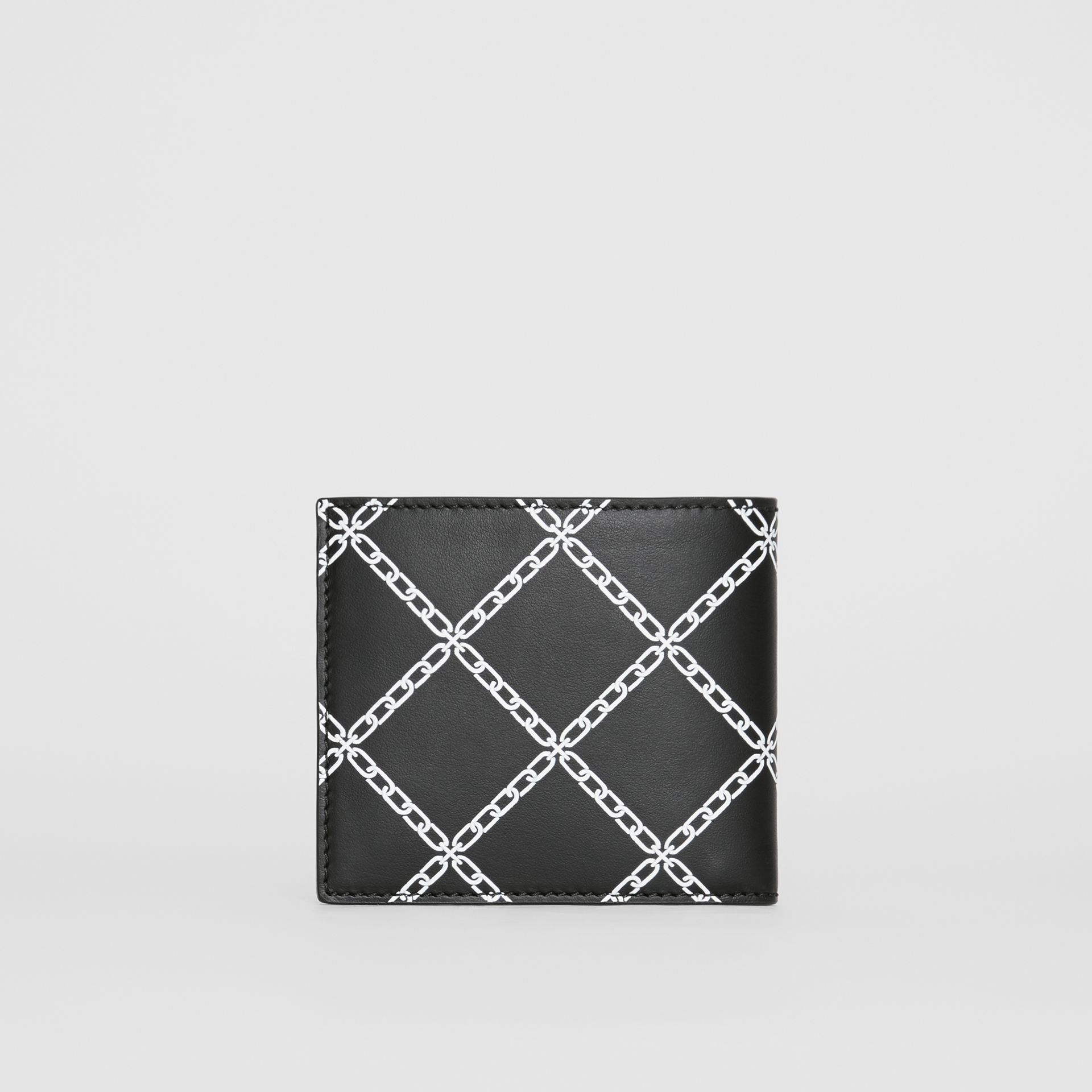 Link Print Leather International Bifold Wallet in Black - Men | Burberry Australia - gallery image 4