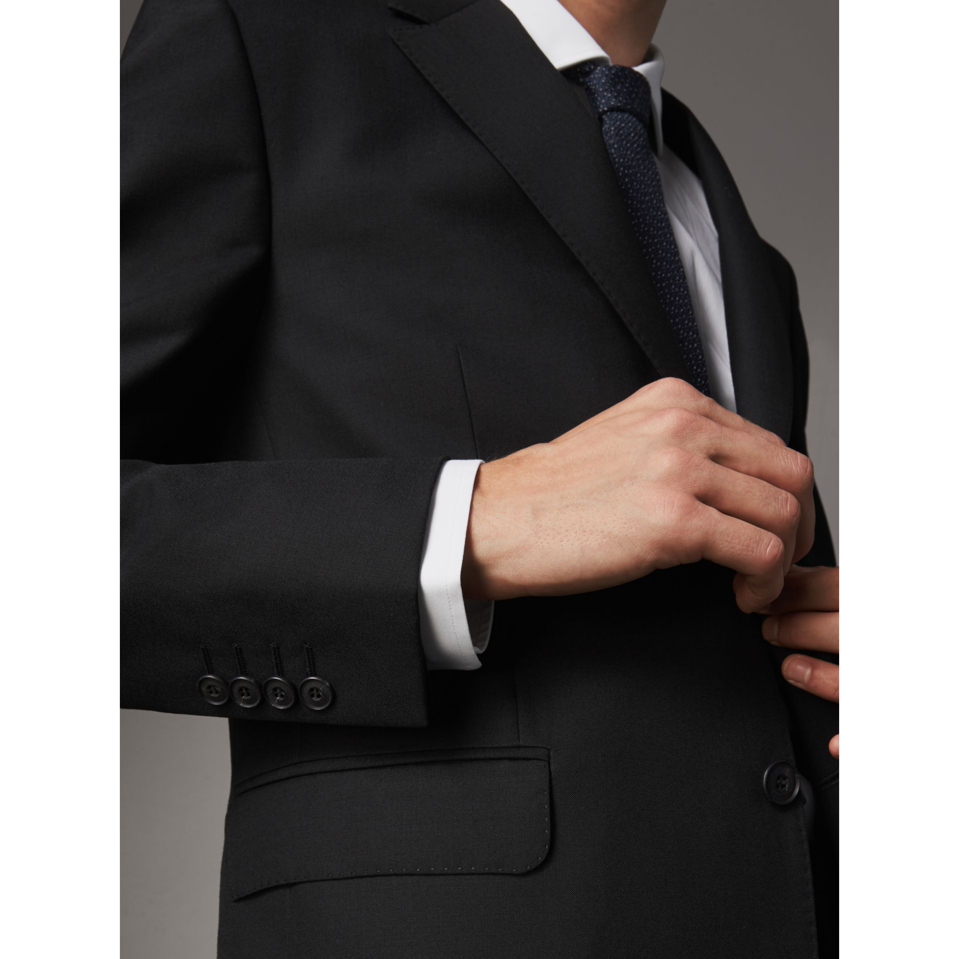 Classic Fit Wool Part-canvas Suit in Black - Men | Burberry - gallery image 2
