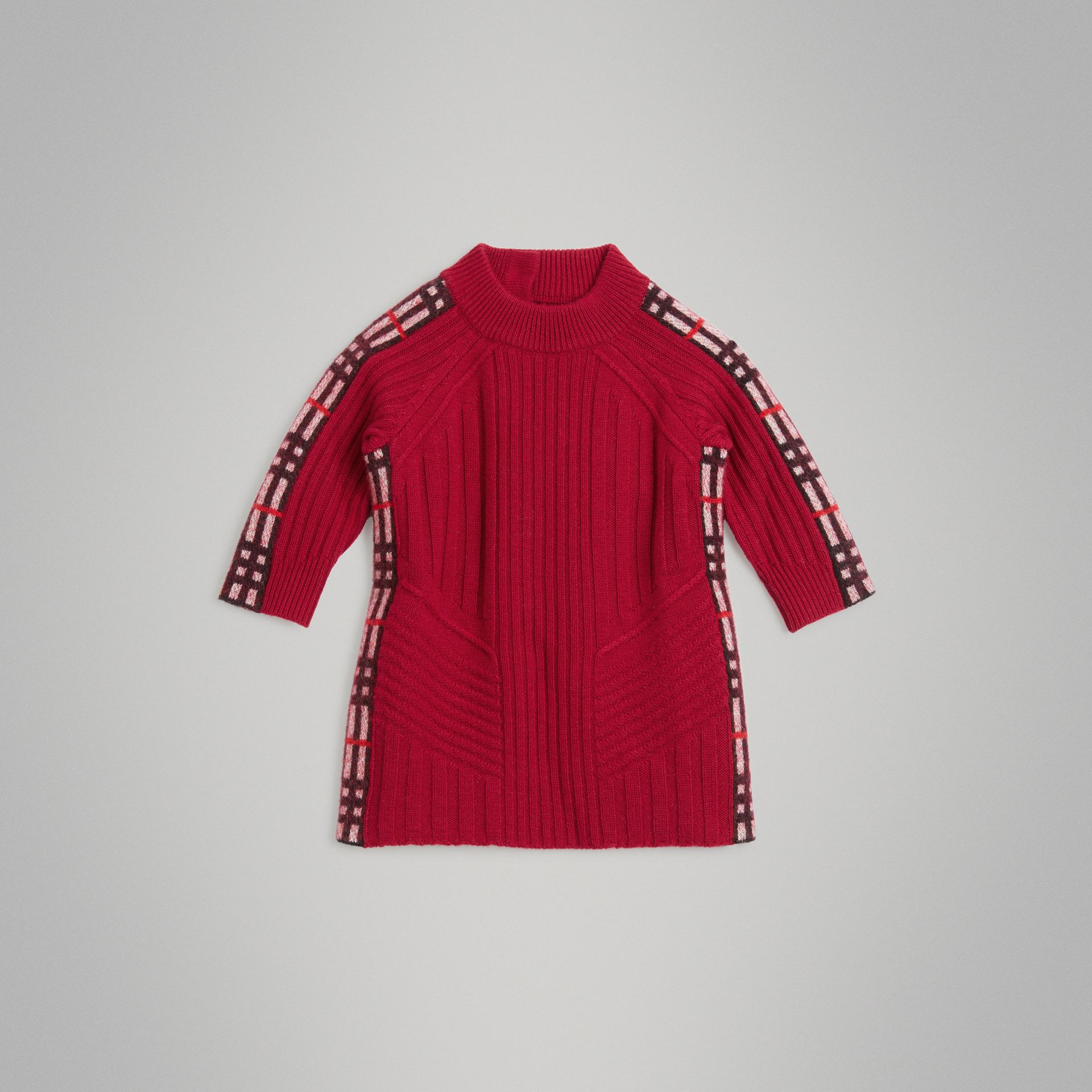 Check Detail Wool Cashmere Dress in Burgundy Red - Children | Burberry Canada - gallery image 0