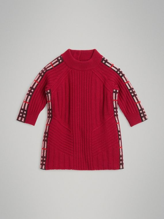 Check Detail Wool Cashmere Dress in Burgundy Red