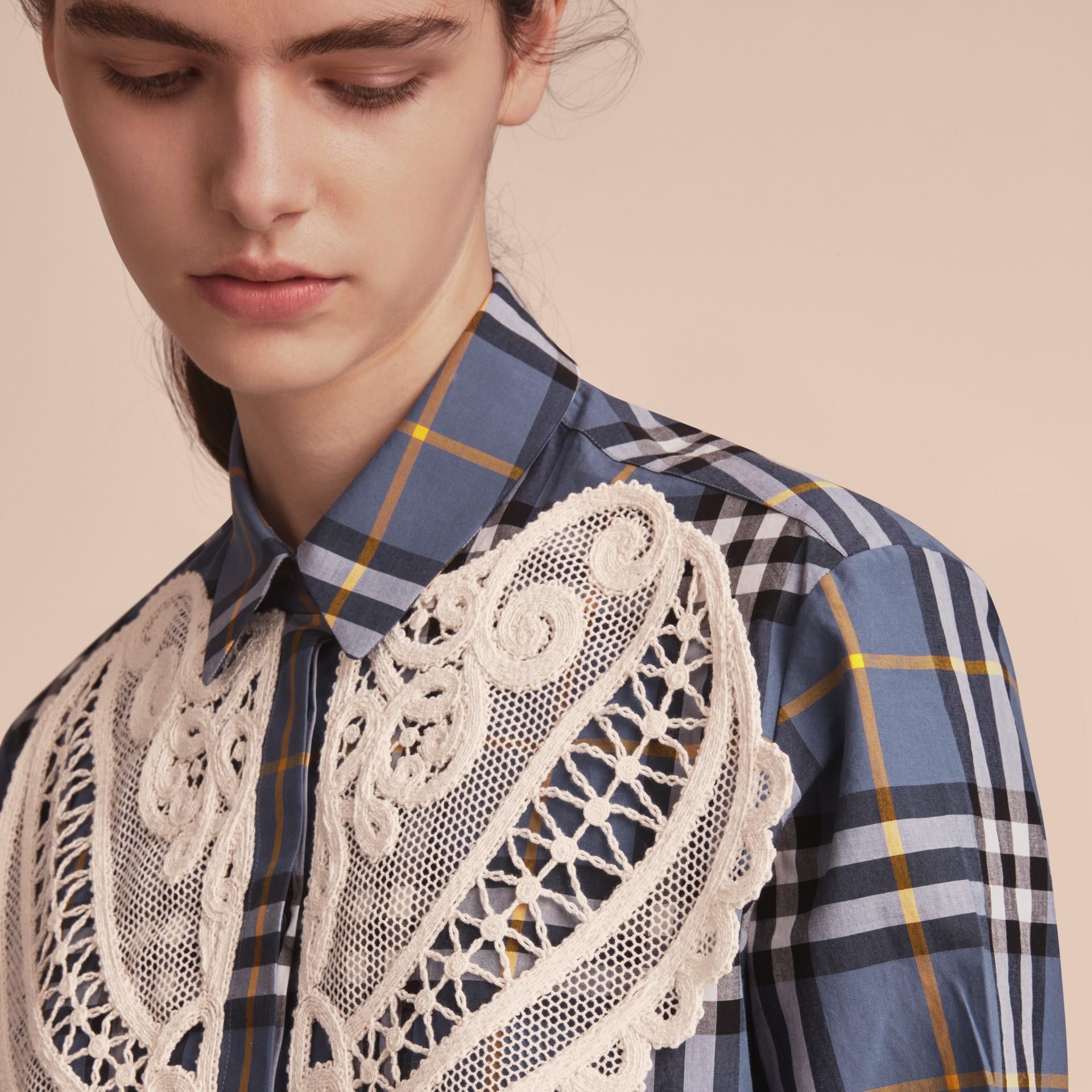 Lace Appliqué Check Cotton Shirt - gallery image 5
