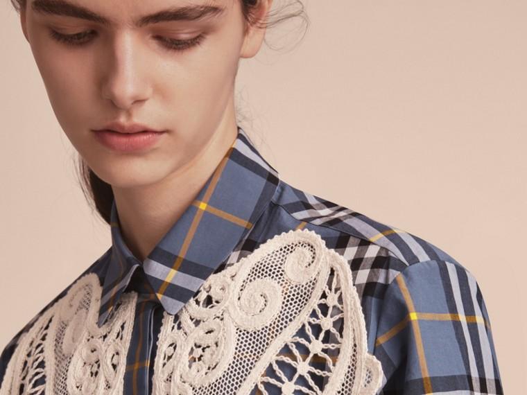 Lace Appliqué Check Cotton Shirt - cell image 4