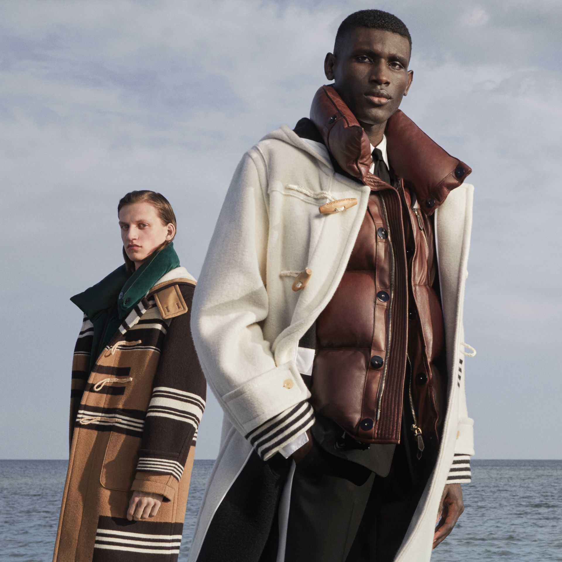 Duffle-coat en laine double face avec rayures (Blanc) - Homme | Burberry - photo de la galerie 1
