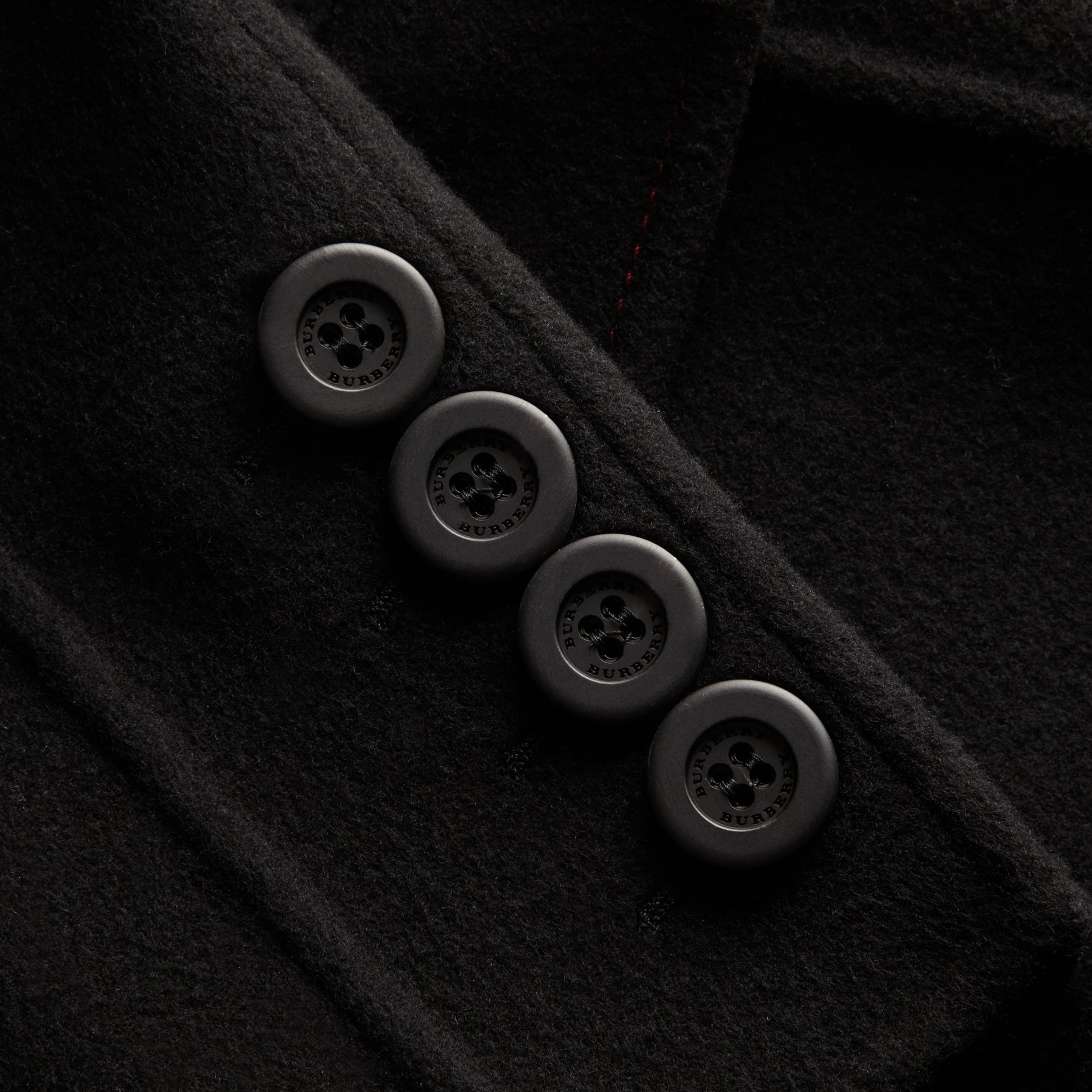 Black Double-breasted Check-lined Wool Cashmere Coat - gallery image 2