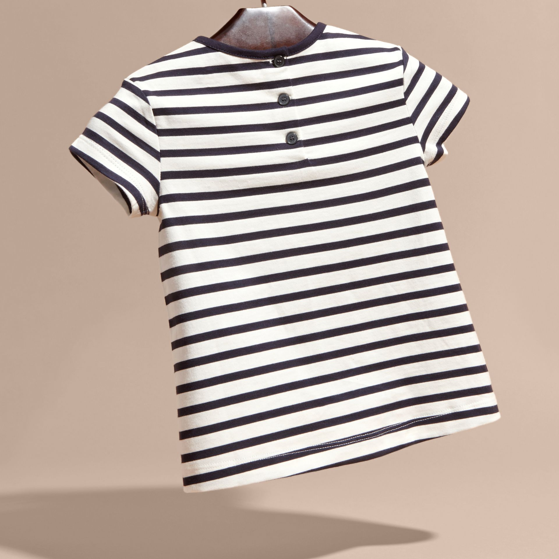 Navy/white Rainbow Appliqué Striped Cotton T-shirt - gallery image 4