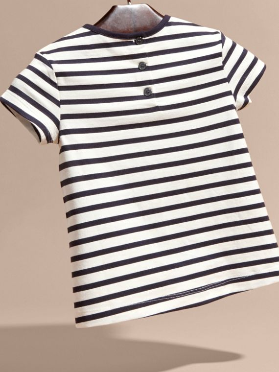 Navy/white Rainbow Appliqué Striped Cotton T-shirt - cell image 3