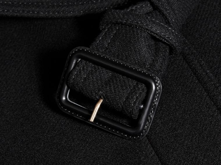 Black Technical Wool Cashmere Funnel Neck Coat Black - cell image 1