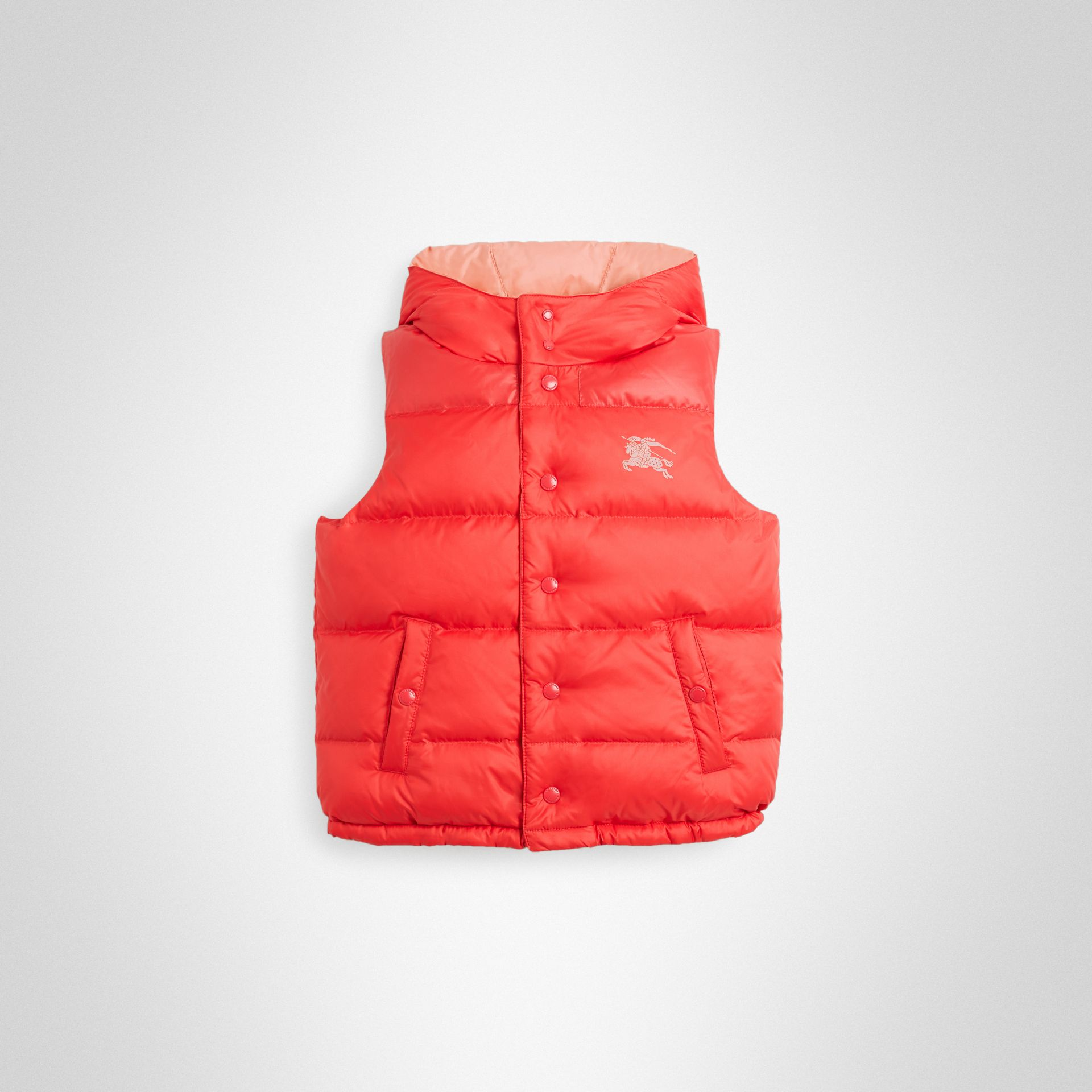 Reversible Showerproof Down-filled Hooded Gilet in Coral Pink | Burberry - gallery image 0