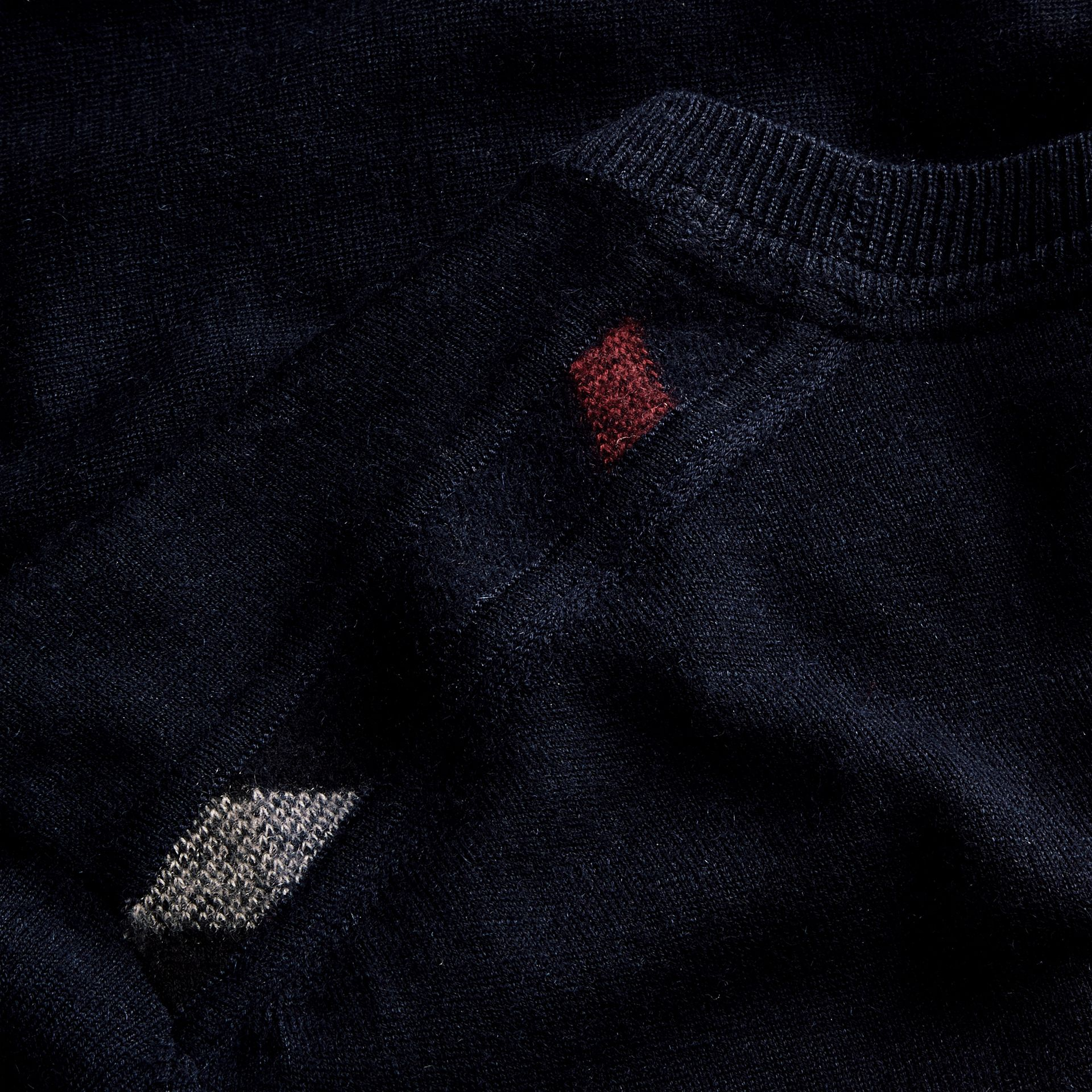 Lightweight Crew Neck Cashmere Sweater with Check Trim in Navy - Men | Burberry - gallery image 2