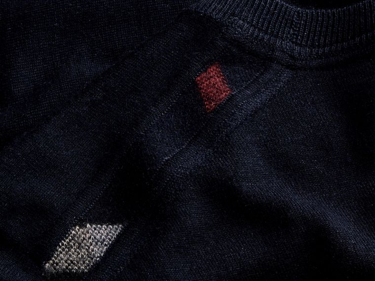 Navy Lightweight Crew Neck Cashmere Sweater with Check Trim Navy - cell image 1