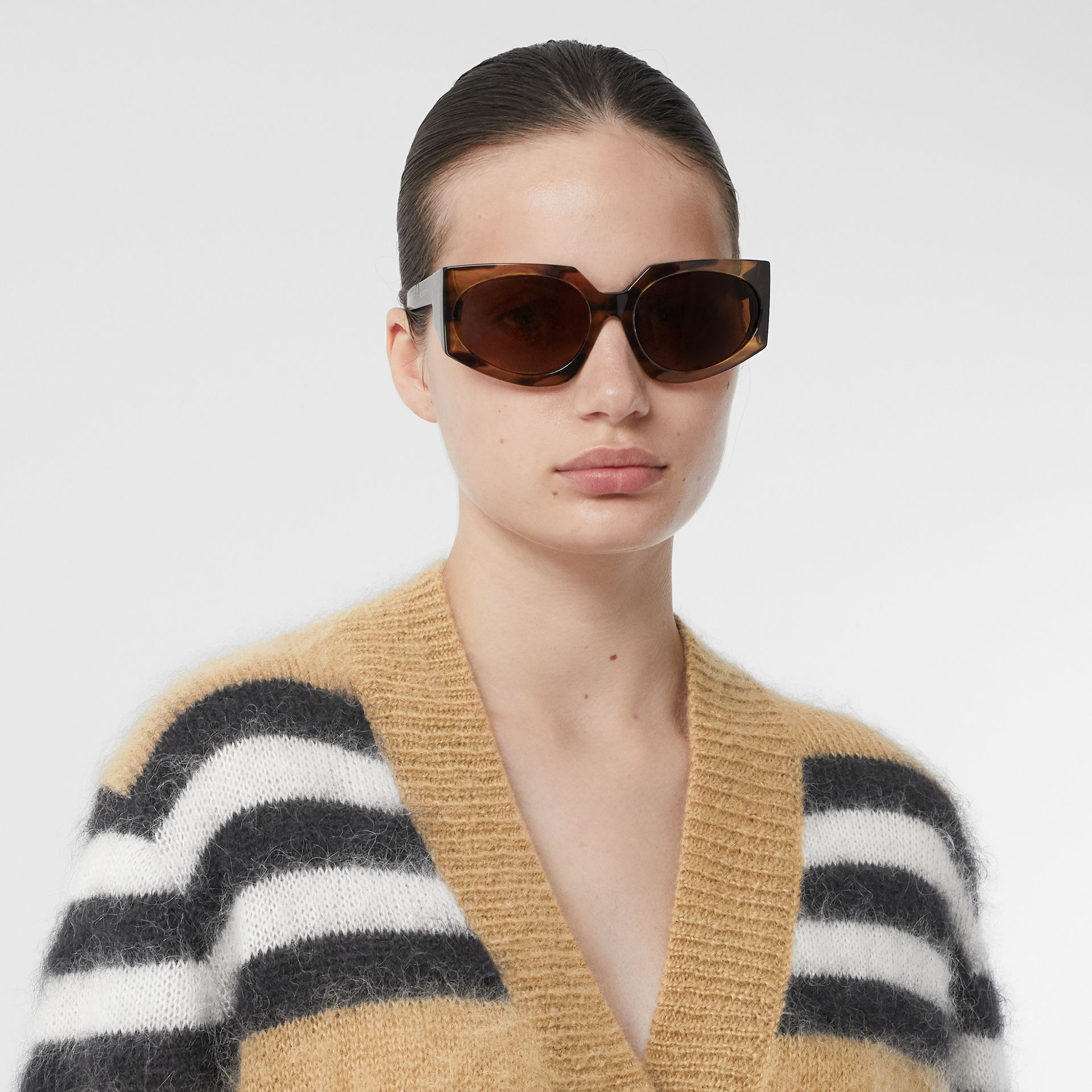 Icon Stripe Mohair Wool Blend Cardigan in Archive Beige - Women | Burberry - gallery image 1