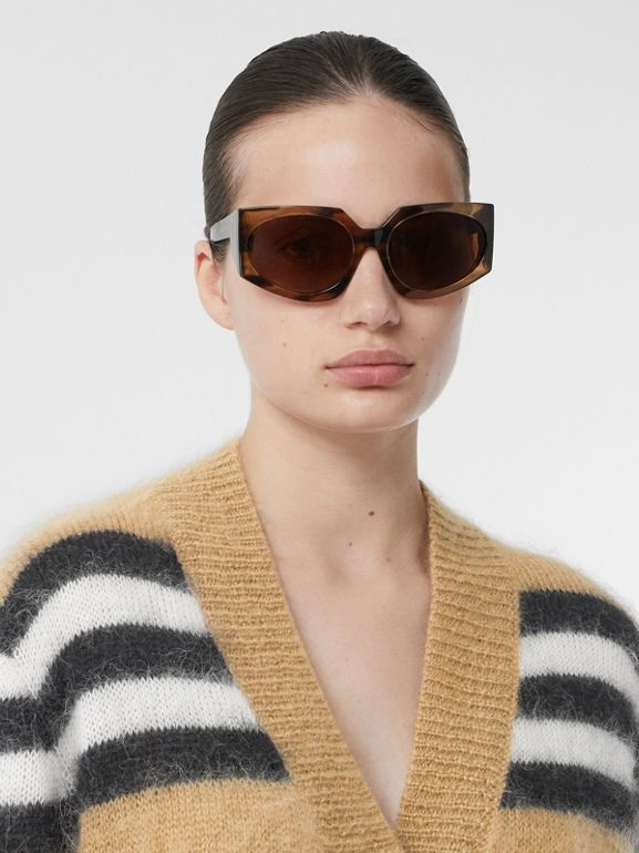 Icon Stripe Mohair Wool Blend Cardigan in Archive Beige - Women | Burberry - cell image 1