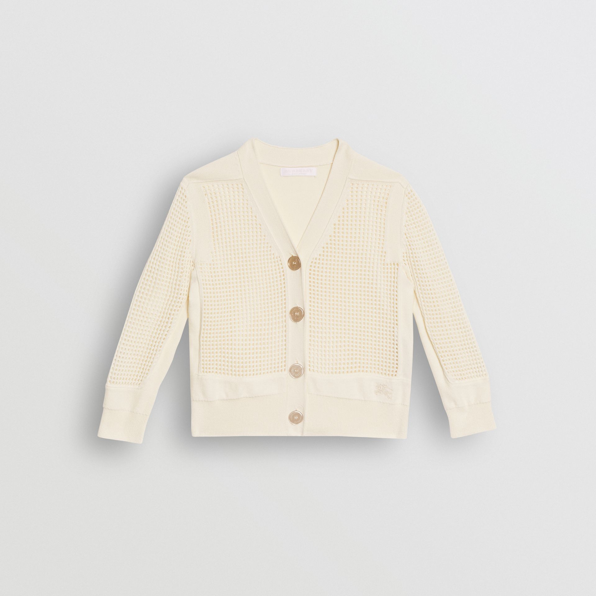 Open Knit Cotton V-neck Cardigan in Ivory | Burberry - gallery image 0