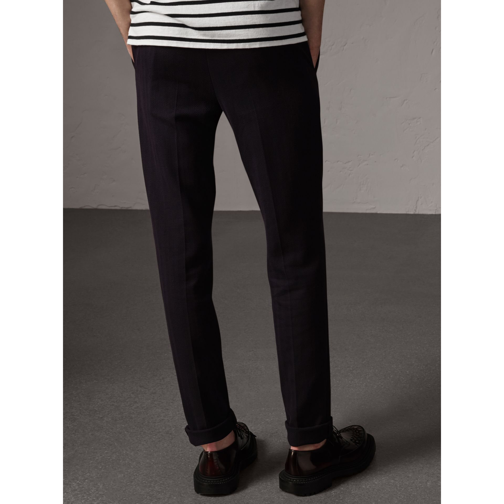 Herringbone Cotton Blend Tailored Trousers in Navy - Men | Burberry United Kingdom - gallery image 2