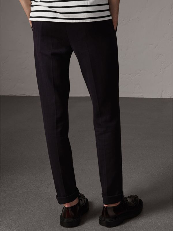 Herringbone Cotton Blend Tailored Trousers in Navy - Men | Burberry - cell image 2