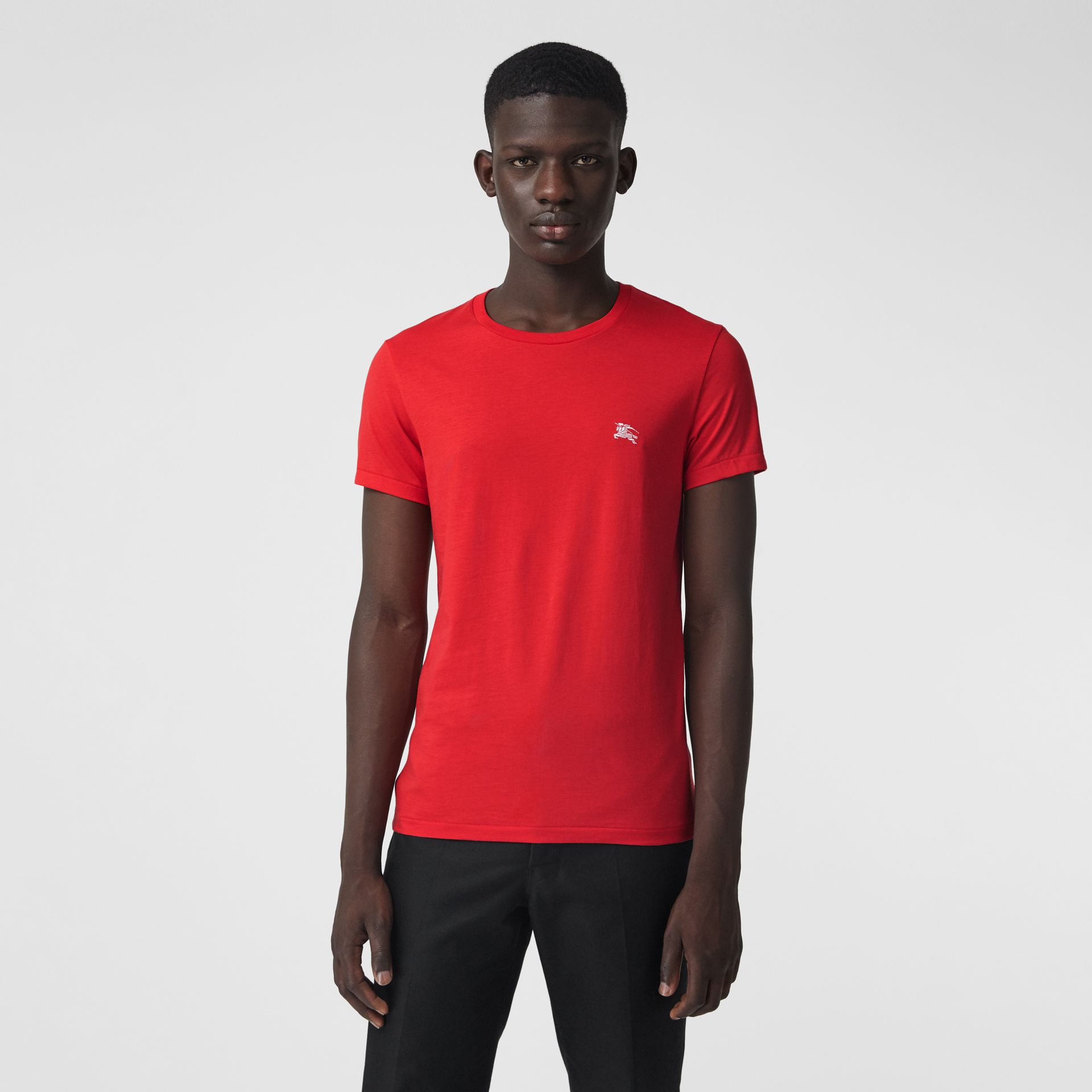 Cotton Jersey T-shirt in Bright Red - Men | Burberry - gallery image 4