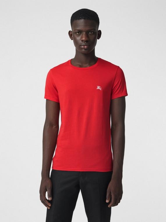 Camiseta de malha de algodão (Vermelho Intenso)