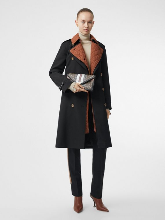 Wool Gabardine Trench Coat with Detachable Warmer in Black