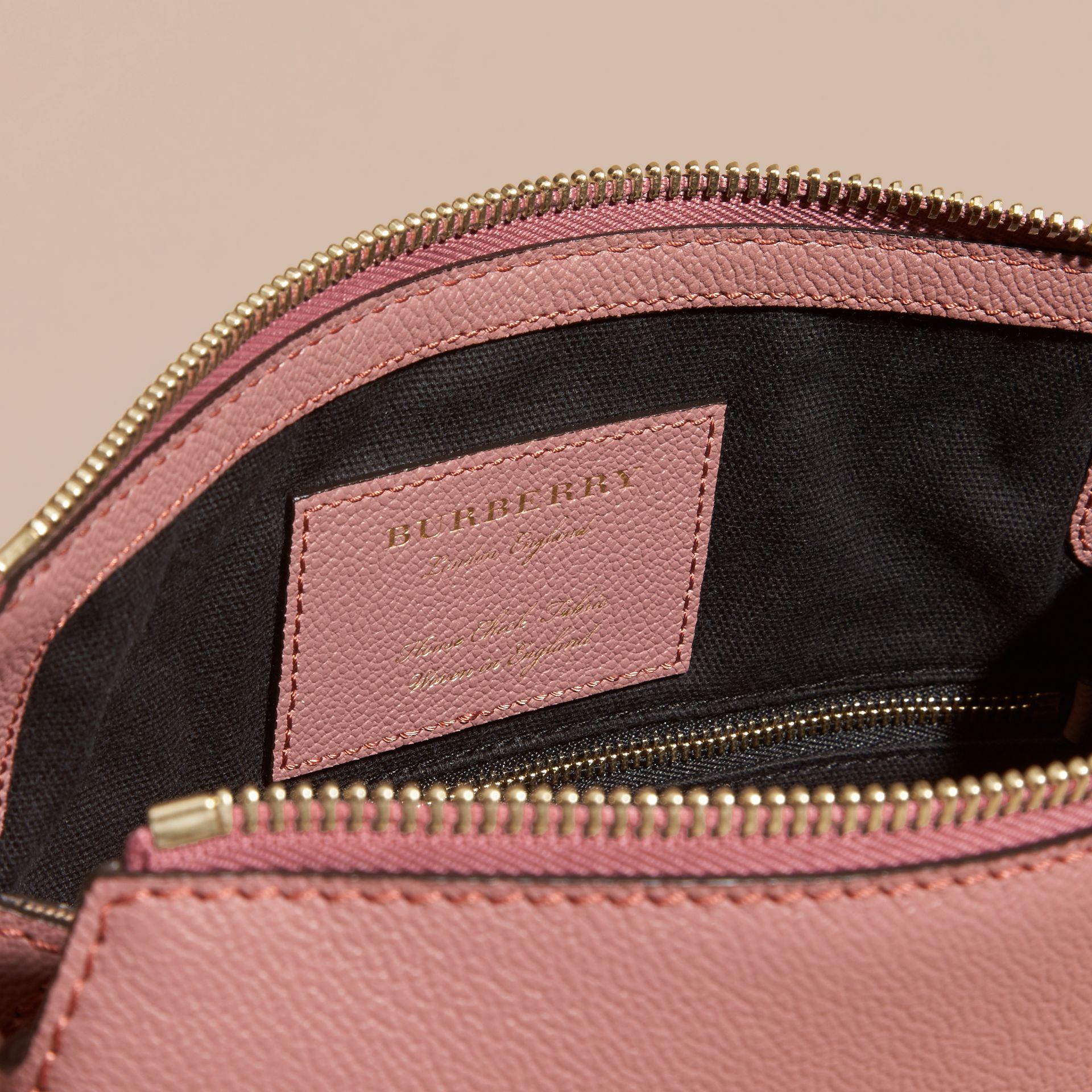 Buckle Detail Leather and House Check Crossbody Bag in Dusty Pink - gallery image 5