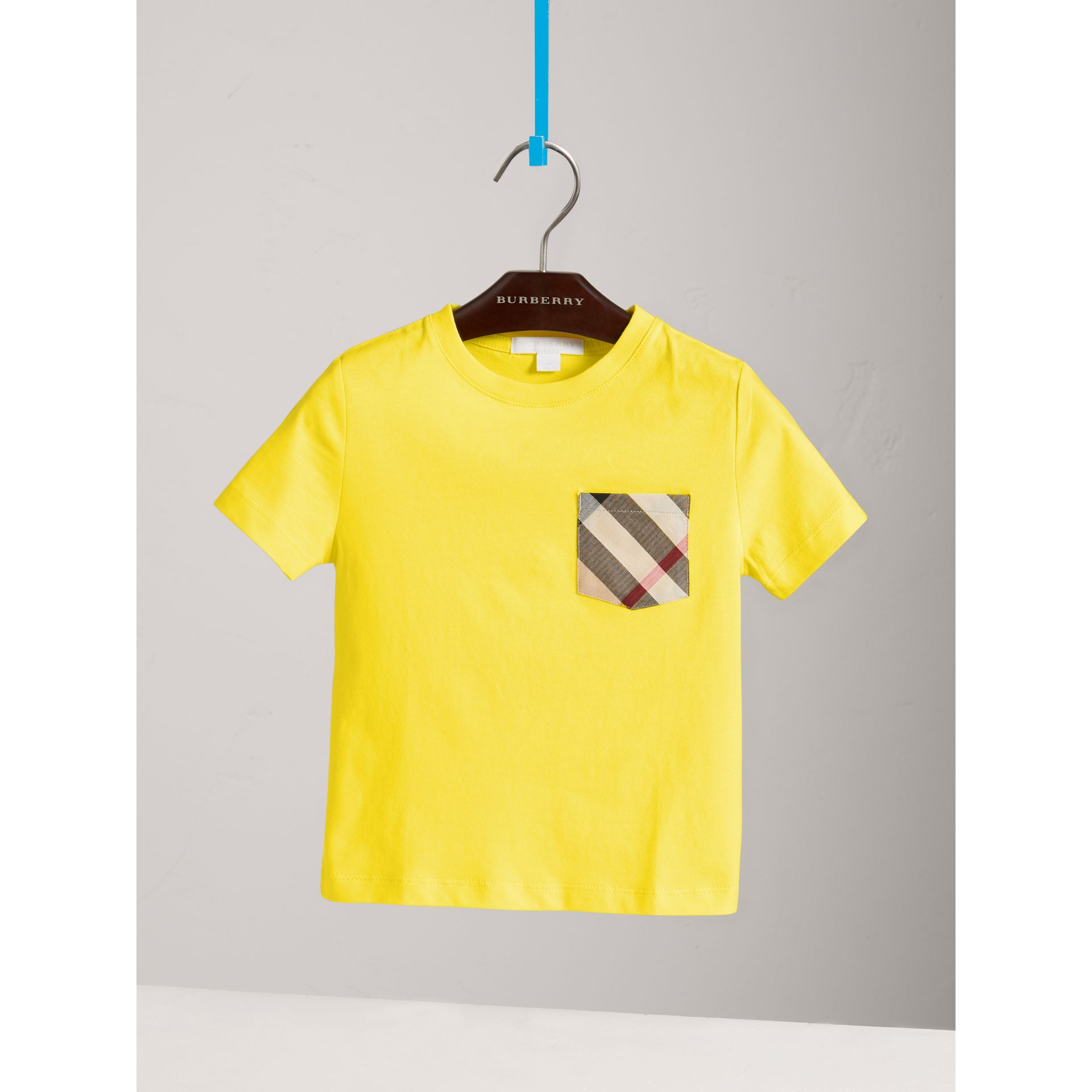 Check Pocket Cotton T-shirt in Bright Citrus Yellow - Boy | Burberry - gallery image 2