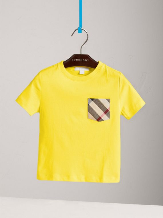 Check Pocket Cotton T-shirt in Bright Citrus Yellow - Boy | Burberry - cell image 2