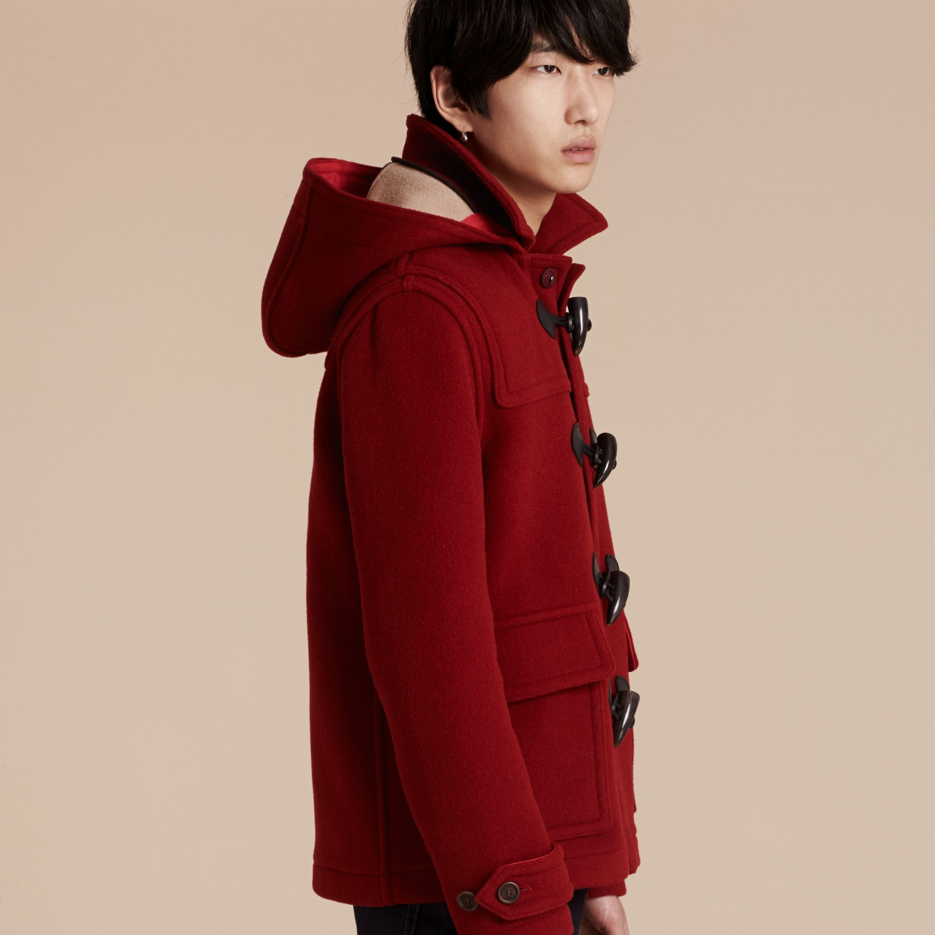 Parade red Wool Detachable Hood Duffle Jacket - gallery image 7