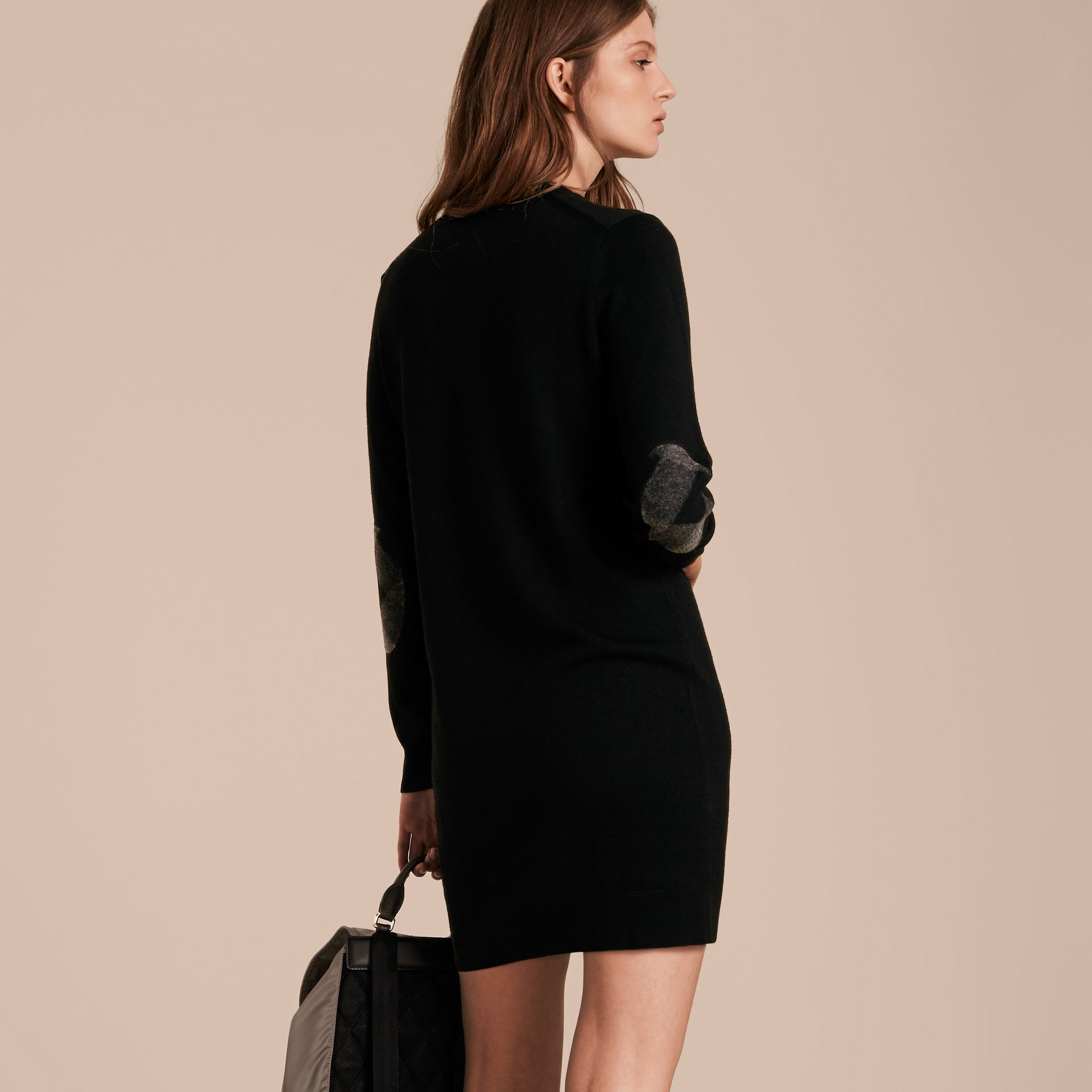 Check Elbow Detail Merino Wool Sweater Dress Black - gallery image 3