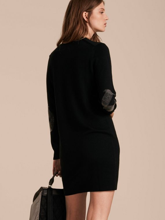 Check Elbow Detail Merino Wool Sweater Dress Black - cell image 2